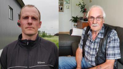 Bild kollage av två män. Den ena står utomhus, den andra sitter i soffan.