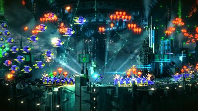 Ett videospel med pixelgrafik.