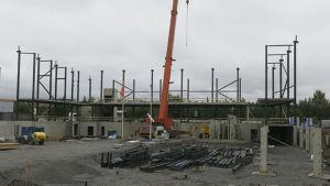 Bygget av ny bollhall i Åbo.
