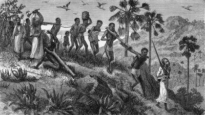 Slavar på marsch i östra Afrika 1866.