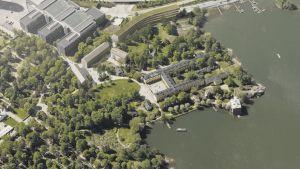 En flygbild av Lappvikens sjukhus med tillsatta datorgenererade byggnader.