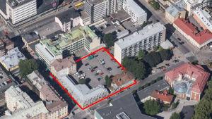 En flygbild över Österbladska tomten i Åbo