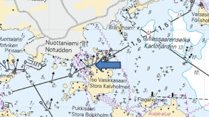 Sjöbevakningens karta över räddningsoperation 25.2.2017