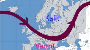 Jetströmmen över norra Europa.