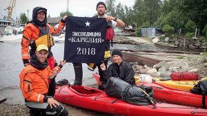 Kaisa och Christoffer Leka med vänner i Petroskoj.