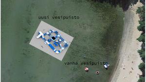 Bild var en vattenlekpark ska placeras på Plagen i Hangö.