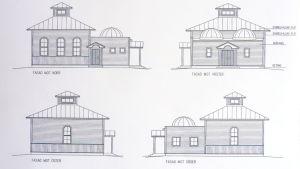 Skisser för moskén i Närpes.