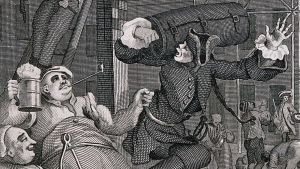 William Hogarth detalj från en ölgata. Illustratör Elias Martin, studerat William Hogarth's illustrationer, så som han 1751 Beer Street.