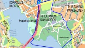 Karta över Heikkilä kasernområde.