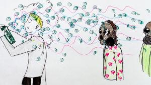 koululaisen piirros hajusteiden liikakäytöstä