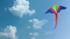 Flygande drake mot en blå himmel.