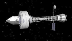 Konstnärens vision av ett framtida interstellärt rymdskepp.