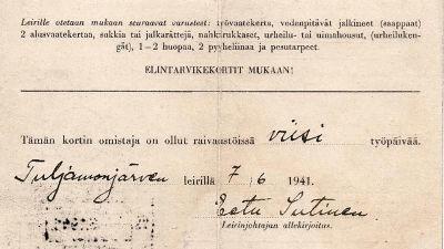 Lars Holmqvistin työkortti (1941).