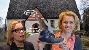 Laura Räty och Päivi Räsänen får en kyrkråtta.