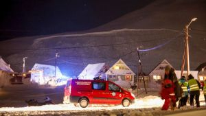 snöskred i Longyearbyen