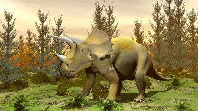 Konstnärens vision av en triceratops-dinosaurie.
