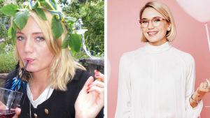 Två bilder på en ung kvinna. Tillvänster med en drink i handen och tom blick, till höger leende med en ballong.