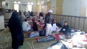 Skadade efter moskéattacken i Egypten.