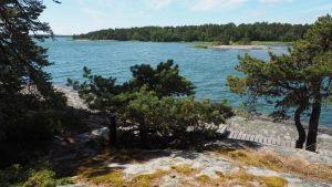 Utsikt från Urho Kekkonens ö Grisslesklobben i Iniö mot skärgården och närliggande öar.