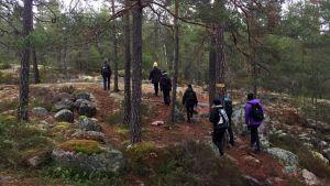 Kvinnor vandrar upp för en bergskulle.