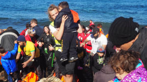Flyktingar anländer till ön Lesbos, Grekland