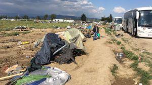 Bussar väntar vid flyktinglägret i Idomeni