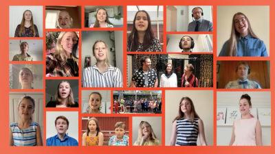Ett kollage med bilder av elever som medverkat i en musikvideo.