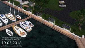 en dataanimerad bild av dalsbruks gästhamn med planerade solpaneler på taken