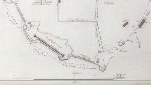 En karta från 1750 pekar ut platsen där vraket Blekinge ligger i Karlskrona örlogshamn