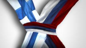 Finlands och Rysslands flaggor i knut