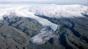Glaciären Sólheimajökull i Island år 1985