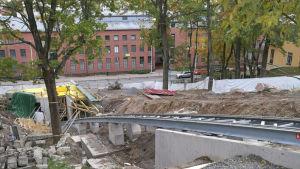 Bergbanans spår i Kakolabacken i Åbo.