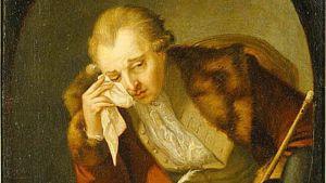 Carl Michael Bellman ses gråta över förlusten av två krigsfartyg under Gustav III:s ryska krig. Ett porträtt gjort av konstnären Pehr Hilleström, målat i propagandasyfte.