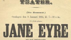 Affisch för teaterföreställningen Jane Eyre på Åbo Svenska Teater 9.1.1884.