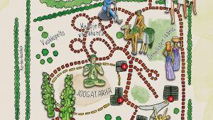 Karta över Parikkalan patsaspuisto.