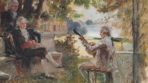 Carl Michael Bellman spelar för Gustav III och G. M. Armfelt. En oljemålning gjord av Albert Edelfelt.