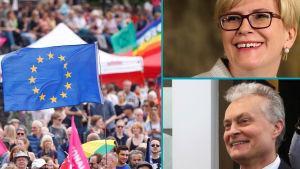 Ingrida Simonyte och Gitanas Nauseda presidentvalskandidater i Litauen. EU-val.