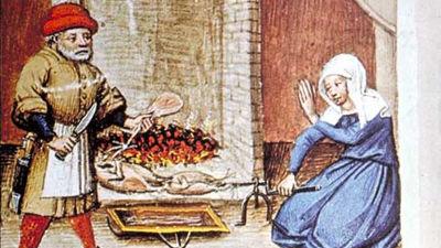 Fågel grillad på spett. Under spettet en behållare för steksky. Flandern, 1432.