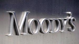 Moody's logotyp utanför företagets kontor i New York sommaren 2011.