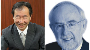 Arthur B. McDonald, Takaaki Kajita, Nobels fysikpris 2015.