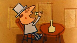 Kuvakaappaus animaatiofilmistä, mies juo alkoholia