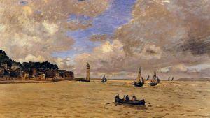 Claude Monets målning Lighthouse at the hospice från 1864
