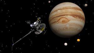 Rymdsonden Voyager 1 vid Jupiter.