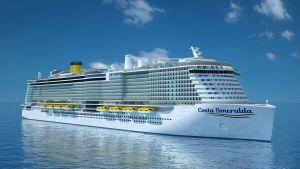Illustrerande bild av kryssningsfartyget Costa Smeralda då det byggts på Åbovarvet.