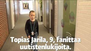 Uutisvideot: Topias, 9, uutisankkurina