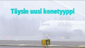 Uutisvideot: AirBaltic teki esittelylennon Helsinki–Vantaalle täysin uudella Bombardier-suihkukoneella