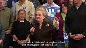 Uutisvideot: Madeline Albright: Olen valmis rekisteröitymään muslimiksi solidaarisuuden eleenä