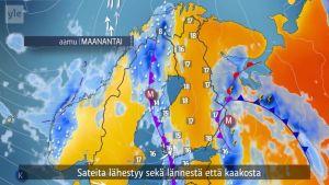Sateita lähestyy sekä lännestä että kaakosta