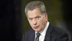 Tasavallan presidentti Sauli Niinistö summaa Kultaranta-keskusteluiden antia