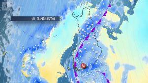 Säänurkka: Viikonlopuksi reippaita sateita ja tuulia